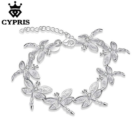 CYPRIS 2017 Luxury silver H121 Charm Bracelet Silver Fashion Bracelet Dragonfly women xmas wedding gift lose money sale jewelry