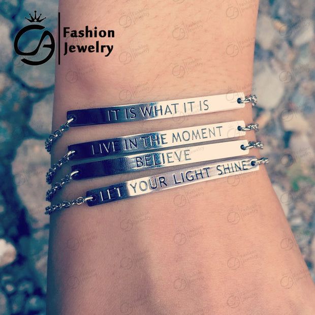 Trend Best quality Stainless Steel Bar Bracelet Mantra Inspirational