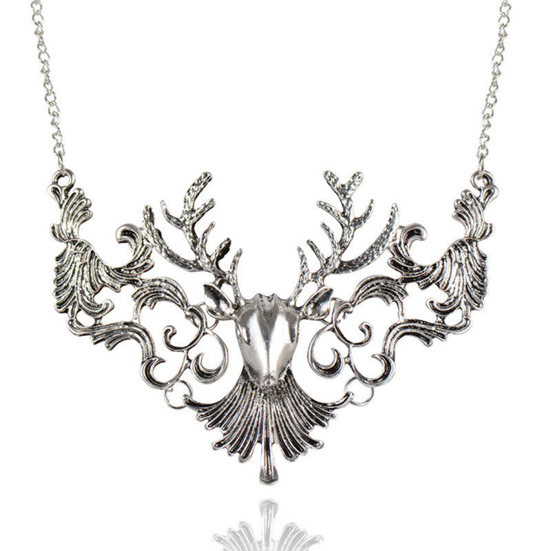 Christmas Gift Fashion Vintage Antique Elk Deer Long Maxi Necklaces