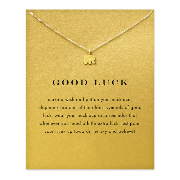 Hot Sale Sparkling good lucky elephant Pendant necklace gold color
