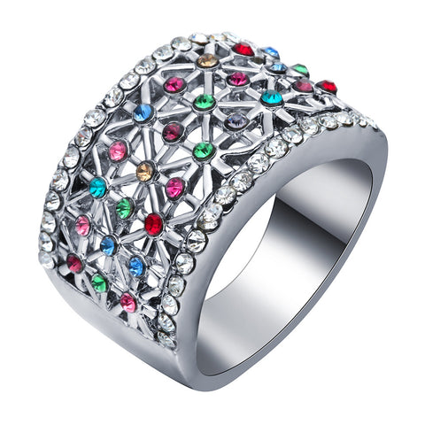 Hot Fashion Colorful Women Engagement Ring Austrian Crystal White Gold Plated Rhinestone Wedding Band Jewelry Drop Shipping