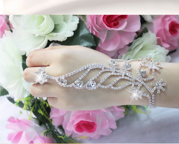 Christmas Snowflower Silver Bridal Bracelet Connected Ring Set Crystal