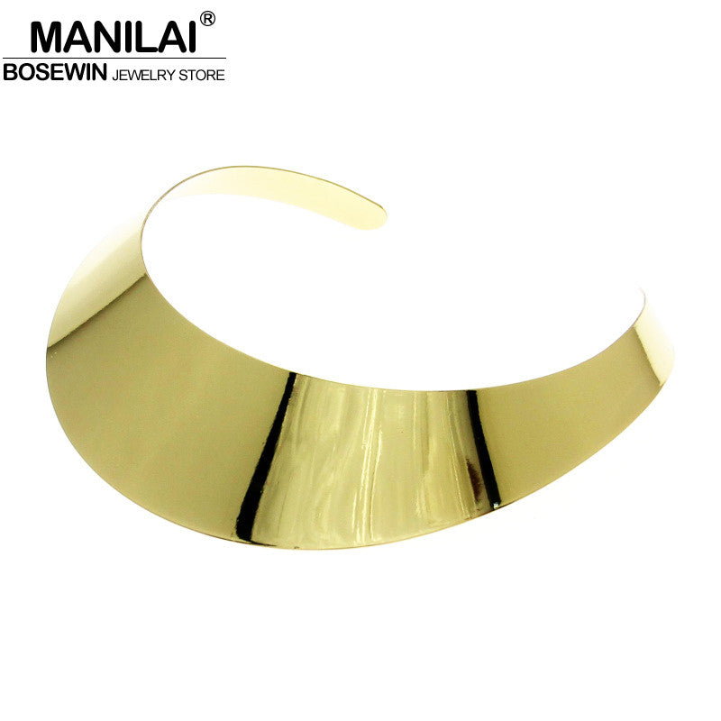 MANILAI Classic Style High quality Shine Plated Torques  Choker Collar