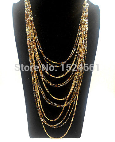Color mixture beads chain necklace necklace  women  chain fashion
