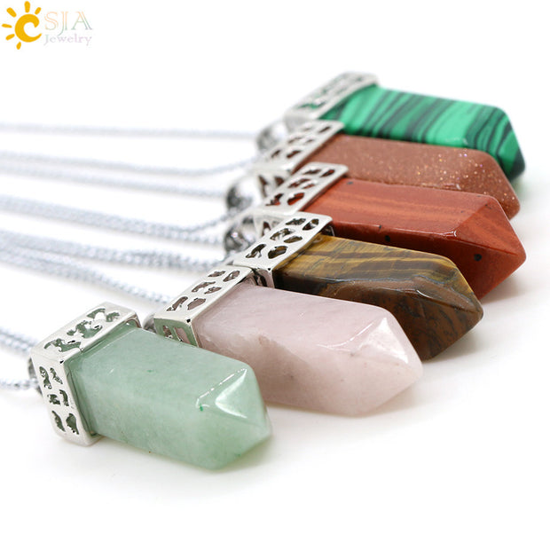 CSJA Pendulum Natural Gem Stone Drop Pendant Chain Power Necklace Pink