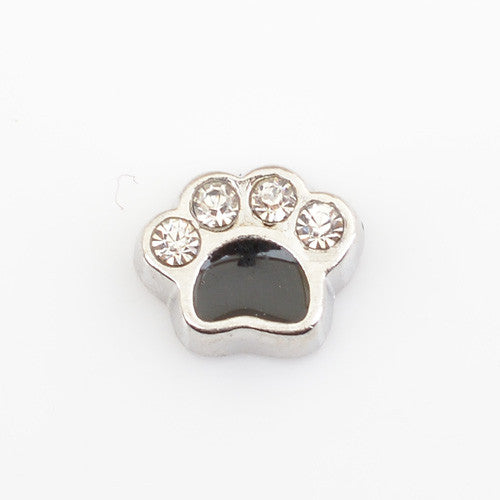 CRYSTAL SILVER DOG PAW, Floating locket charms,Fit floating charm