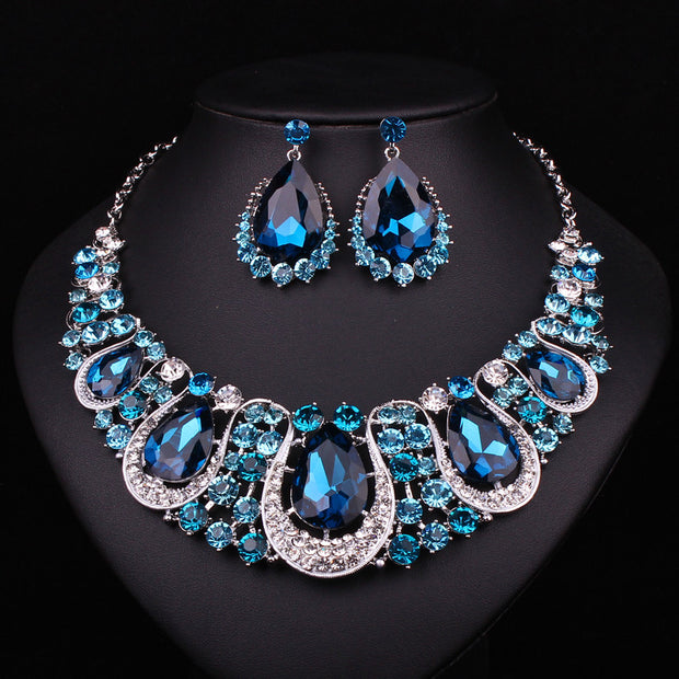 Fashion Indian Jewellery Indian Crystal Necklace Earrings Bridal
