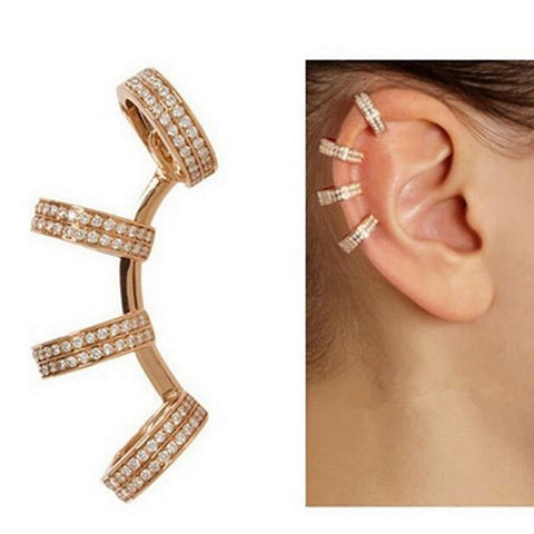 Kittenup 1 Pcs Single New Fashion  Full Crystal C-Shaped Clip Earrings