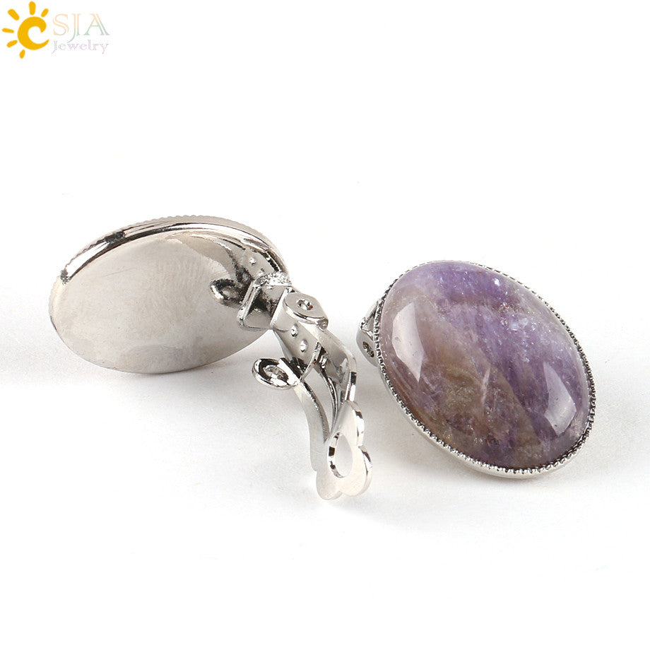 CSJA Clip on Earring Without Piercing Women Reiki Gem Stone Beads Oval