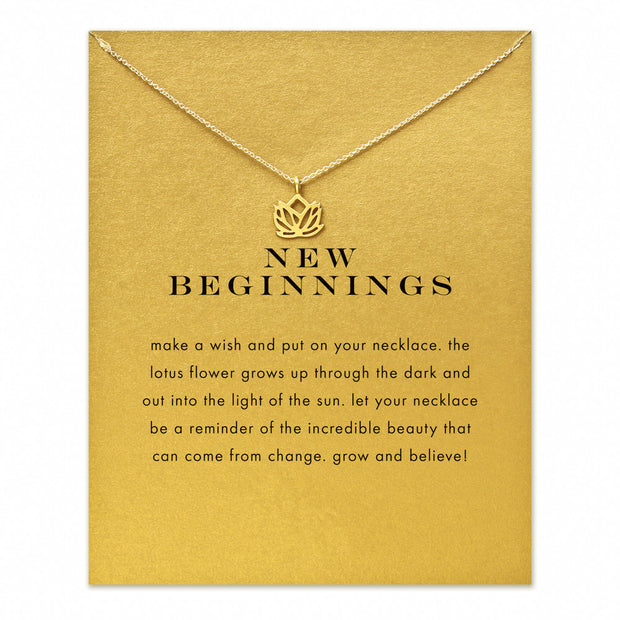 new beginnings lotus Pendant necklace gold color plated Clavicle