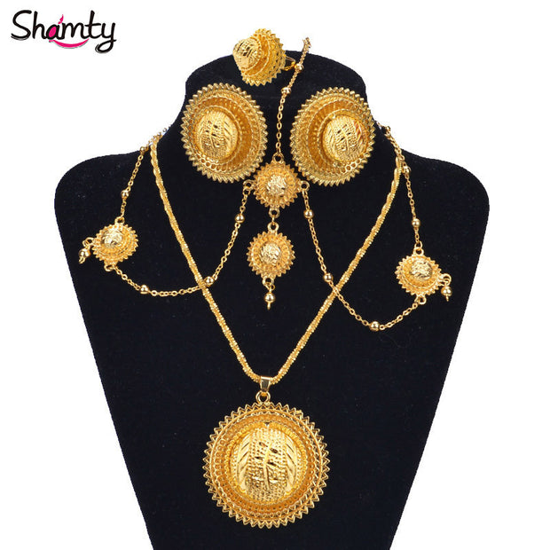 NEW Ethiopian bridal jewelry Set 24Kgold plated African gold