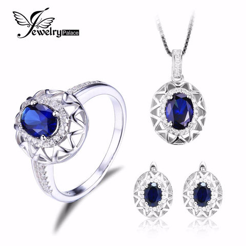 Jewelrypalace Oval  925 Sterling Silver Jewelry Set Blue Created Sapphire Ring Pendant Earring Clip Brand For Women Fine Jewelry