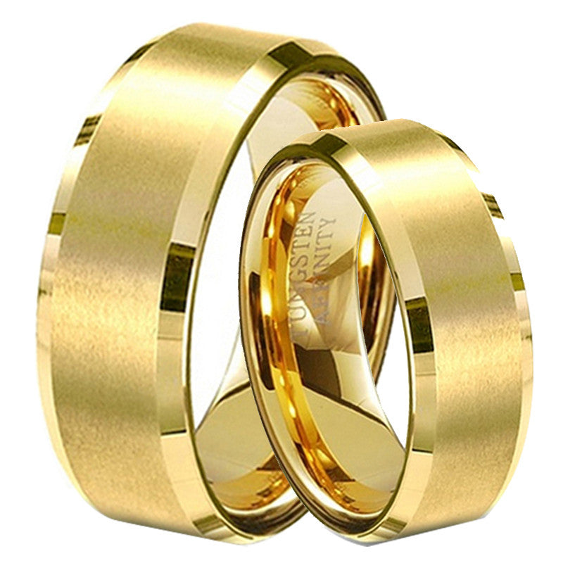Christmas Gift Gold Plated Tungsten Lovers Wedding Bands 1 Pair