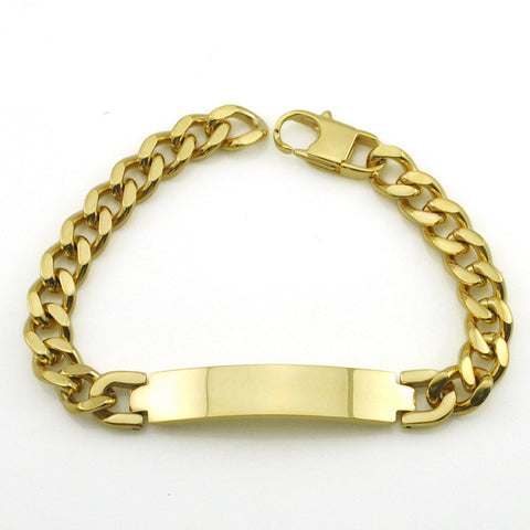 Factory Price!! Men's ID Bracelet 316L Stainless Steel Gold Plated Bracelet For Men Wholesale BB391