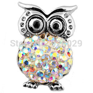 D01010 OWL strass button rivca stass metal jewelry snap button for