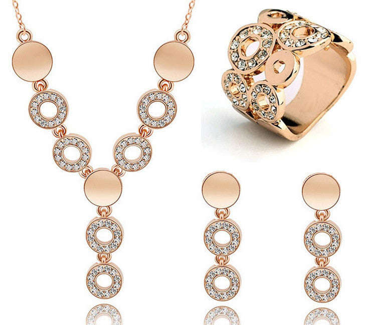 Cheap Wedding Jewelry Sets Circle Design Long Pendant Necklace