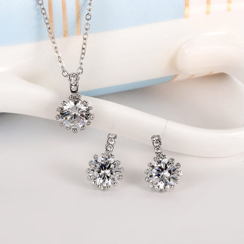 Classic Sun Flower Austrian Crystal CZ Diamond Silver Plated Necklaces&Pendants and Earrings Jewelry Sets Women Christmas Gift