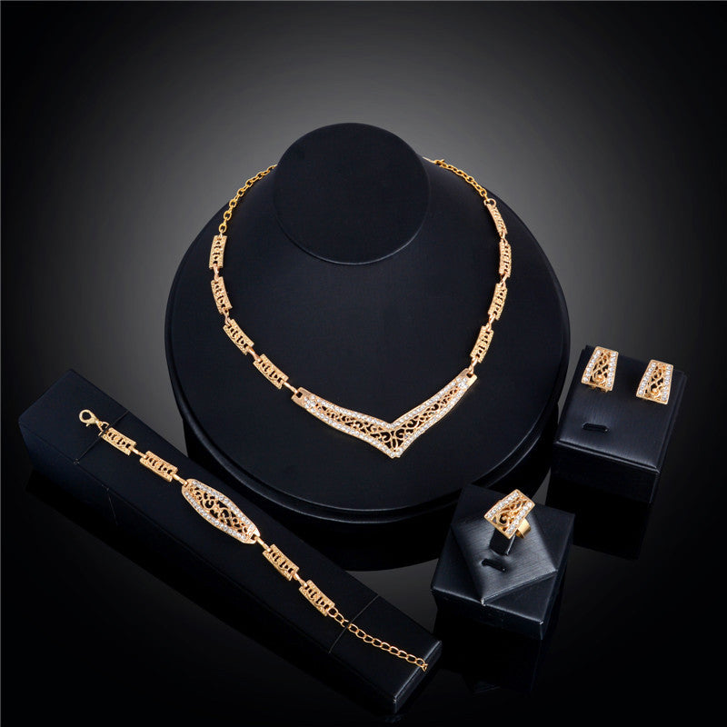 CH2565 Womens Elegance Ring Bracelet Necklace Earrings set for Jewelry