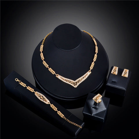 CH2565 Womens Elegance Ring Bracelet Necklace Earrings set for Jewelry Gift  Gold Plated Austrian Crystal Jewelry Sets