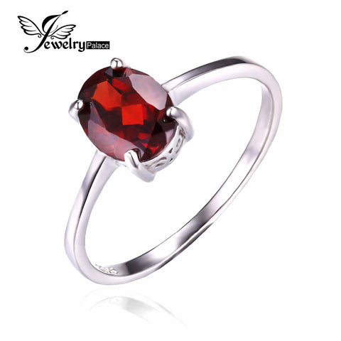 JewelryPalace Oval 1.7ct Natural Red Garnet Birthstone Solitaire Ring Genuine 925 Sterling Silver Engagements Wedding Bands Ring