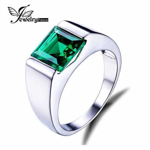 JewelryPalace Men's Square 2.2ct Created Russian Nano Green Emerald Engagement Ring Genuine 925 Sterling Sliver Gemstone Jewelry