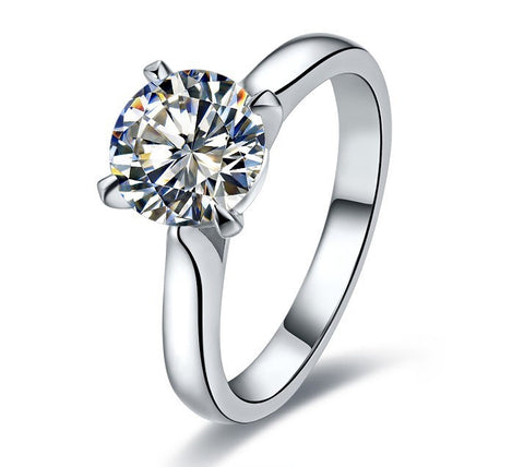 Fabulous 2 Carat SONA Simulate Diamond Engagement Ring With Band White Gold Finish Best Wedding Anniversary Ring