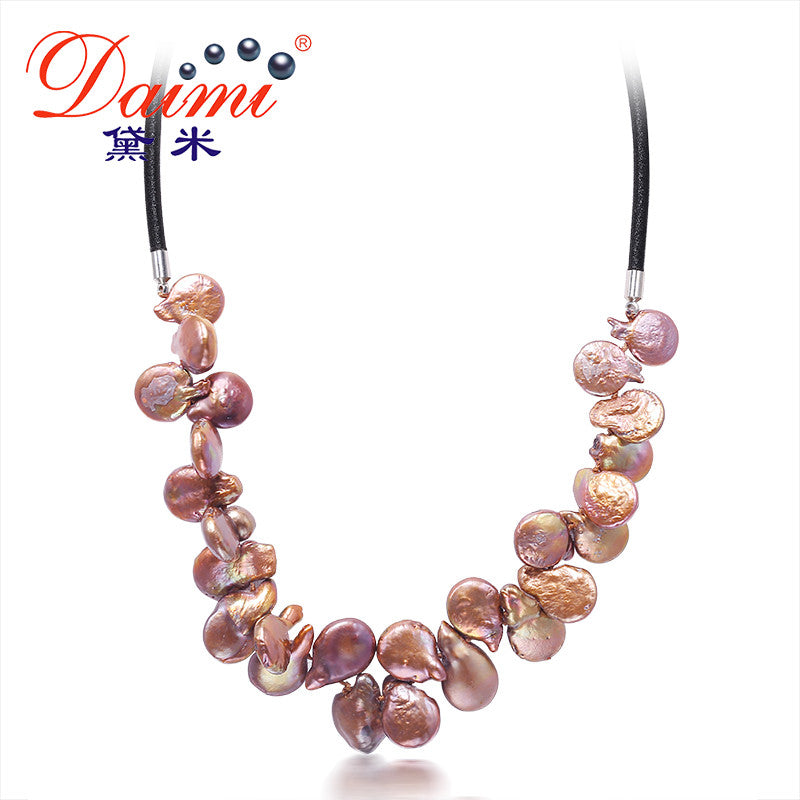 DAIMI Big Coin Pearl 4 Color Necklace Colorful Jewelry, Trendy Style