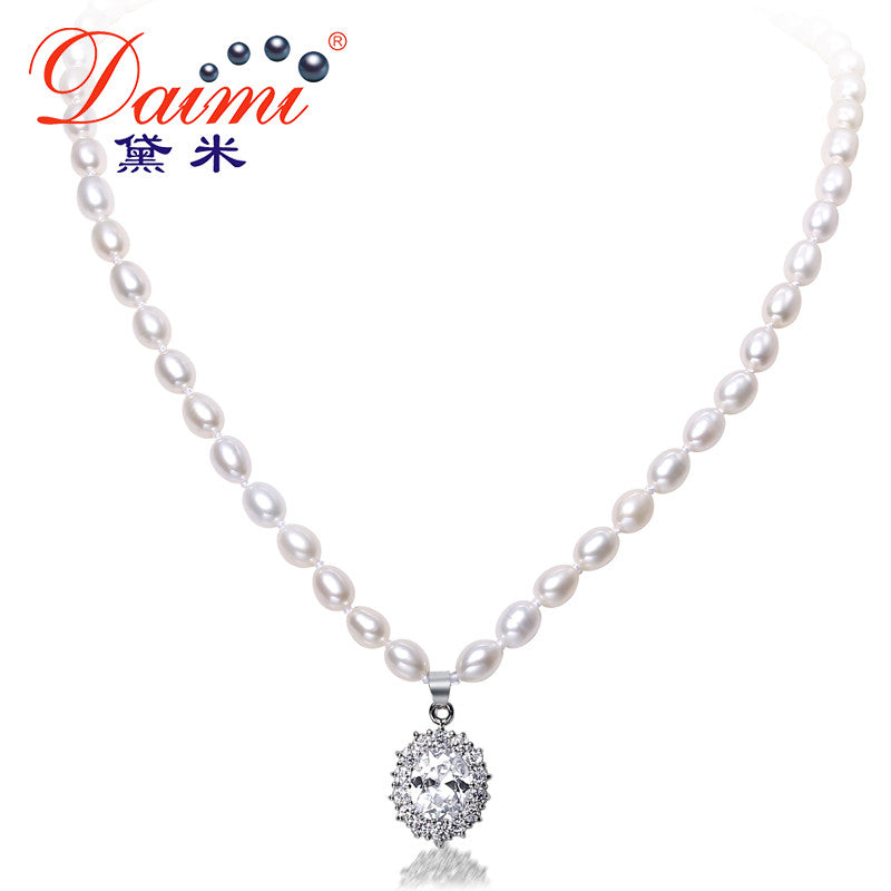 DAIMI 6-7mm Natural Freshwater Pearl & Shinny Crystal Luxury Style
