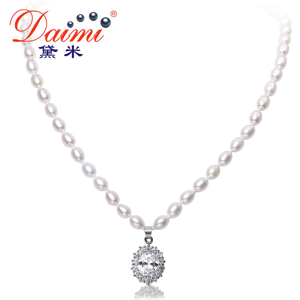 DAIMI 6-7mm Natural Freshwater Pearl & Shinny Crystal Luxury Style Pendant Necklace Wedding Jewelry
