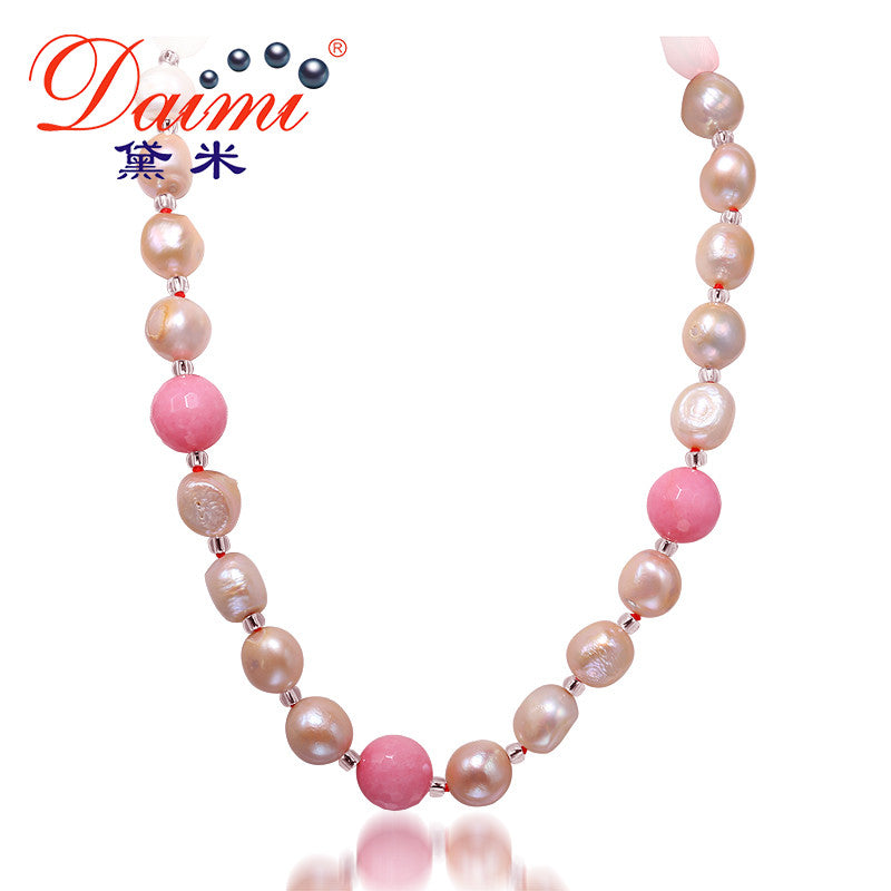DAIMI 11-12MM Natural Baroque Pearl & Stone Necklace Colorful Jewelry,