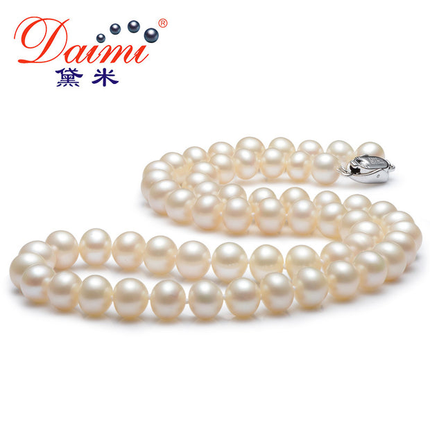 [DAIMI] White Pearl Necklace Free Earrings 100% Natural Freshwater
