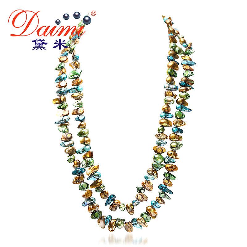 DAIMI Gaga Deals Pink/Blue Multi Color Pearl Necklace 120cm Long