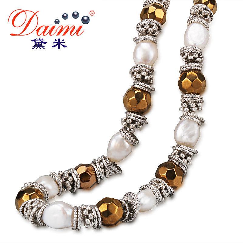 DAIMI Baroque Pearl & Facets Crystal Necklace Euramerican style 9-10mm