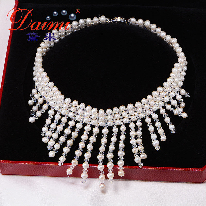 DAIMI 4-5MM Freshwater Pearl & Shinny Crystal ,Natural pearl