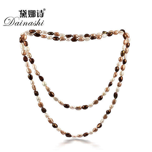 Dainashi new women 8-9mm baroque natural pearl 120cm classic