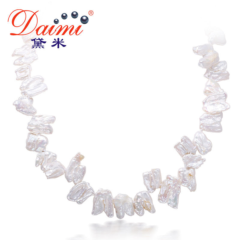 DAIMI 9-10MM Special Gift Pearl Necklace Natural White Teeth Pearl