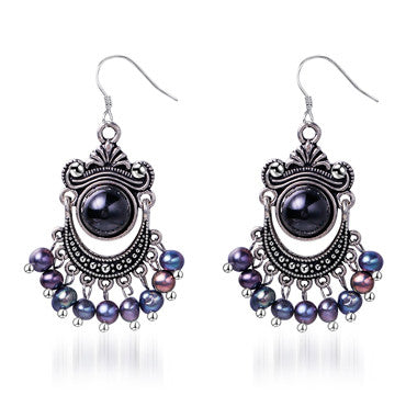 Daimi 5-6mm Black Pearl Earrings  Freshwater & Agate Vintage