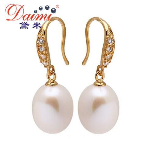 [Daimi] Tear Drop Earring  9-10mm Freshwater Pearl with 925 Sterling