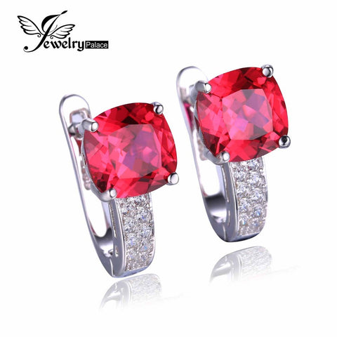 JewelryPalace Cushion 4.6ct Created Red Ruby Clip On Clip Earrings 925