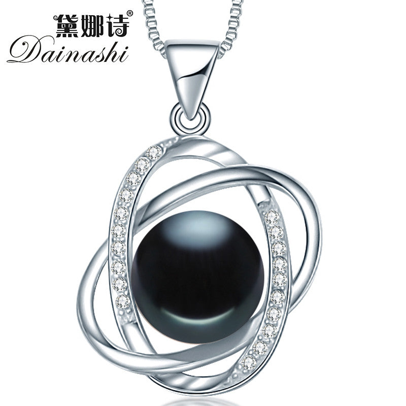 Dainashi new arrival star cross 10-10.5mm black bread round pearl
