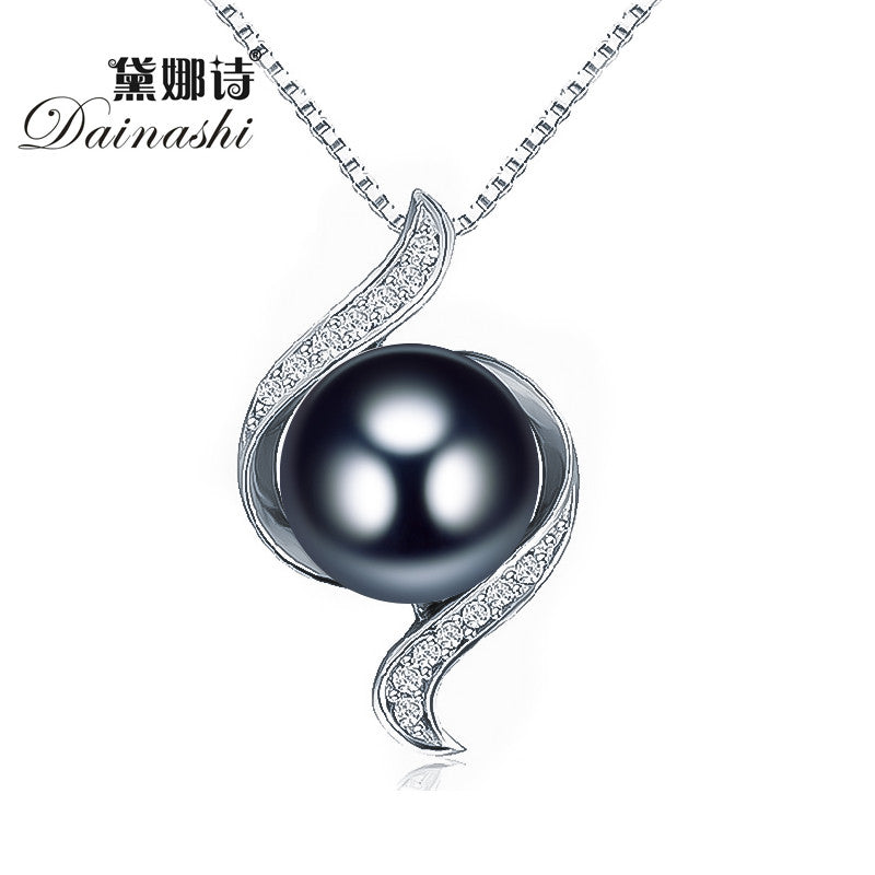 Dainashi women black bread round natural freshwater pearl trendy