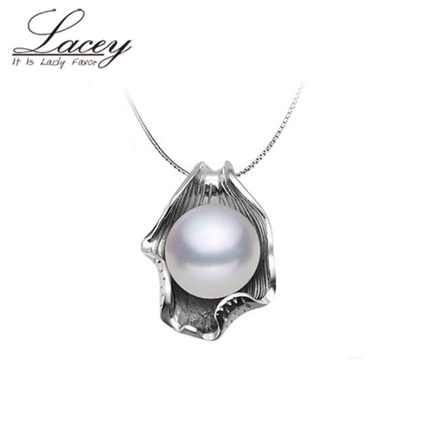 Fashion natural pearl pendant 925 sterling siver 45cm women,cultured