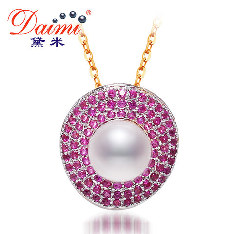 DAIMI 2016 New Cute 9-10 mm Pearl Pendant Necklace  With Shinny Purple Crystal For Women Pearl Jewelry.