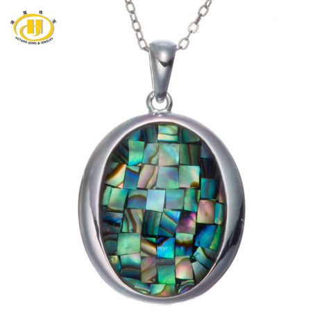 "Rainbow Triplet Mosaic Abalone Shell Solid 925 Sterling Silver Pendants & Necklaces 18"" Chain Fine Jewelry"