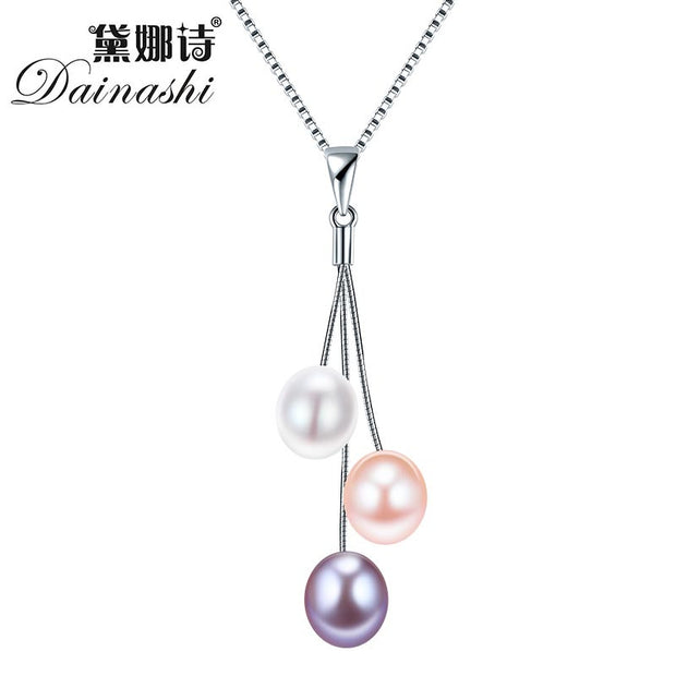 Dainashi New Tassel Three Pearl Line Pendant Necklace with 18in Silver