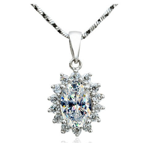 Excellent Design Oval Shape Diamond Solid Sterling Silver Fine Women Wedding Pendant Necklace Last Forever Jewelry