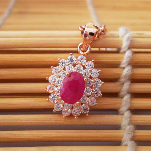 Classic genuine ruby pendant 6mm*8mm natural ruby gemstone solid 925 silver ruby necklace pendant ruby jewelry
