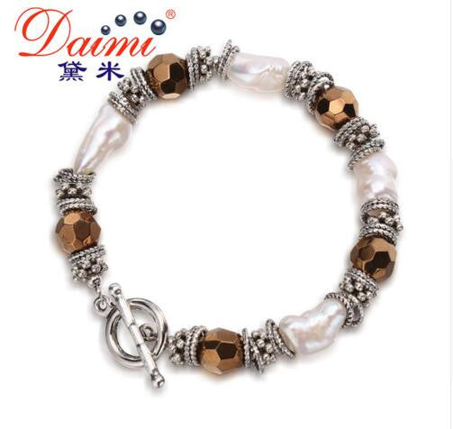 DAIMI Vintage Bracelet Brown Ball with White Baroque Pearls 9-10mm