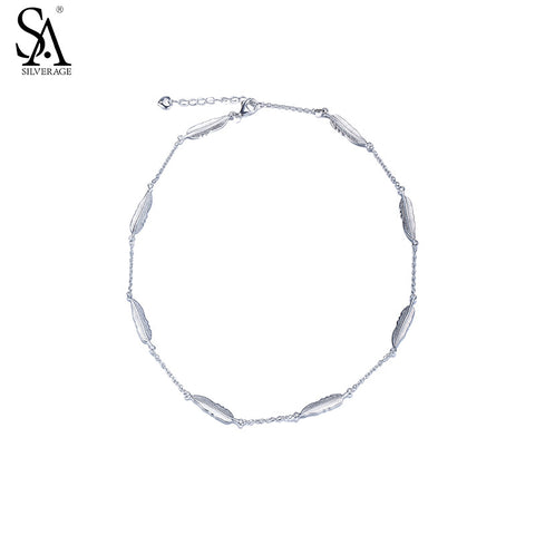 SA SILVERAGE Real 925 Sterling Silver Feather Bracelet Fine Jewelry Women Girl 2016 Summer New Design