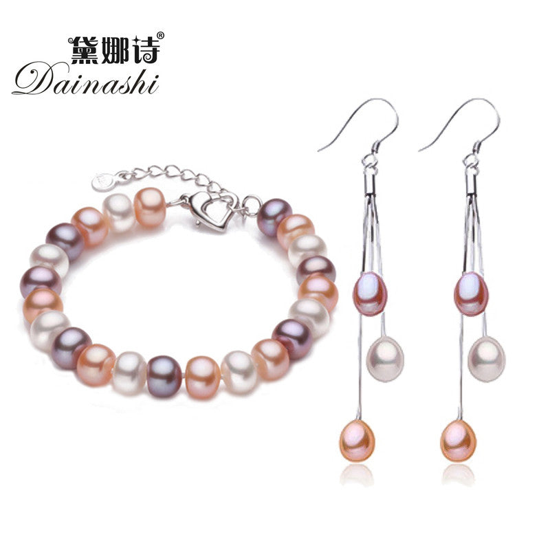 Dainashi TOP Quality Natural Pearl Earrings/Bracelet 925 Sterling